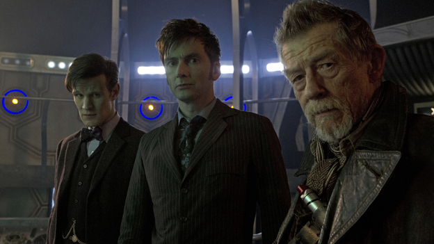 Celebrating 50 years of Humanism: Matt Smith, David Tennant and guest star John Hurt, all playing the Doctor.