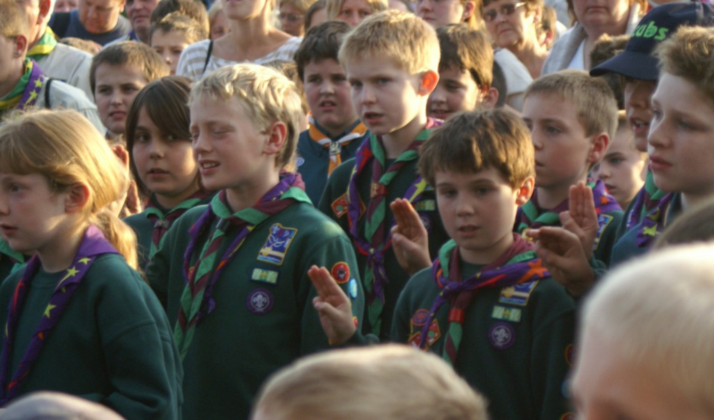 Scouts take the promise at Brownsea Island, Dorset