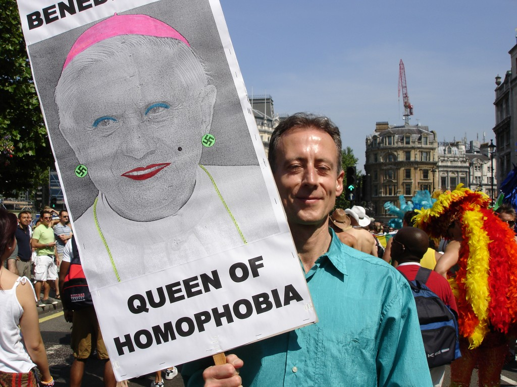 Human rights activist Peter Tatchell at London Gay Pride, highlighting the role religion plays in propagating homophobia around the world.