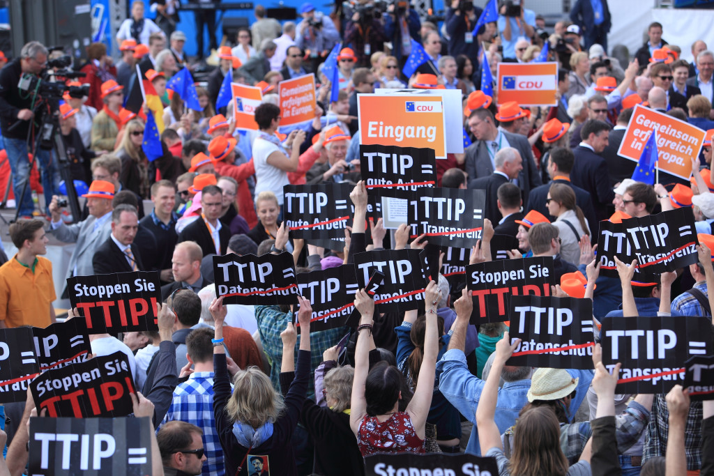 An anti-TTIP flashmob in Hamburg, Germany.