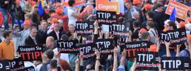 An anti-TTIP flashmob in Hamburg, Germany.