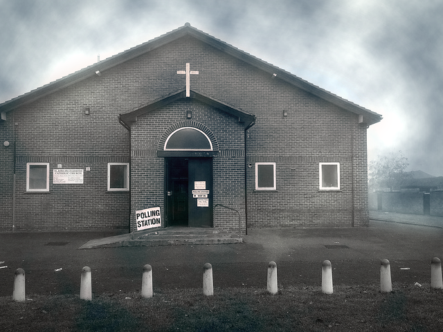 Polling station by Christopher Brown EDITED bw bad weather