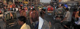 Busy streets of Dhaka, like those where humanist bloggers Avijit Roy, Ahmed Haider, and Washiqur Rahman were slaughtered in the open
