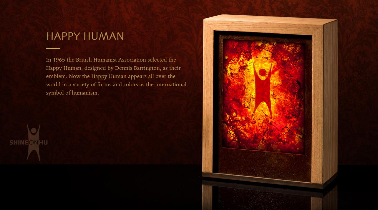 A screencap from ShineonHu.com, spotlighting the BHA origins of the Happy Human symbol