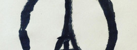 Jean Jullien's Eiffel tower peace symbol, which went viral on the Internet as a show of solidarity to the victims of the atrocity in Paris.