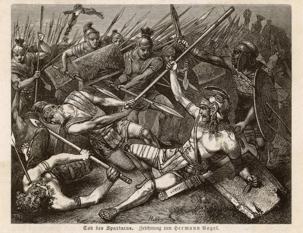 Hermann Vogel's Death of Spartacus, showing the Roman general's capture shortly before his crucifixion